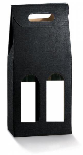 Photo Coffret noir 2 bouteilles 75cl.